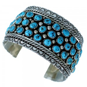 Sterling Silver Turquoise American Indian Cuff Bracelet RX109125