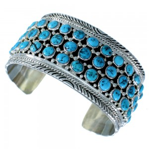 Genuine Sterling Silver Turquoise American Indian Cuff Bracelet RX109126