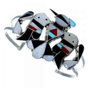 Sterling Silver Multicolor Inlay Thunderbird Zuni Cuff Bracelet RX109215