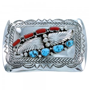 Sterling Silver Scalloped Leaf Navajo Turquoise And Coral Belt Buckle SX109339