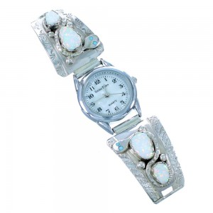 Effie Calavaza Zuni Opal And Turquoise Snake Sterling Silver Watch SX109371