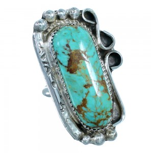 Turquoise Sterling Silver Navajo Statement Ring Size 7 RX109364