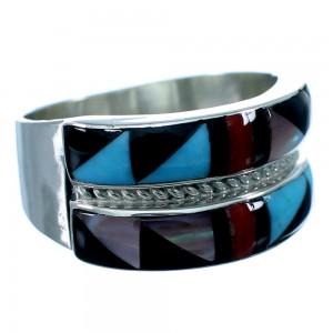 Multicolor Inlay Zuni Indian Genuine Sterling Silver Ring Size 8-1/4 SX109483