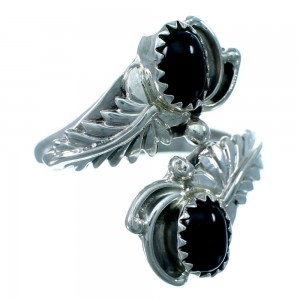 Navajo Indian Sterling Silver Onyx Feather Adjustable Ring Size 8,9,10 RX109503