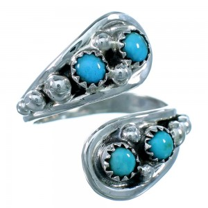 American Indian Genuine Sterling Silver And Turquoise Adjustable Ring Size 7,8,9 RX109507