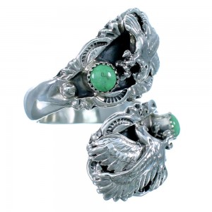 Turquoise Native American Eagle Sterling Silver Adjustable Ring Size 6,7,8 RX109510