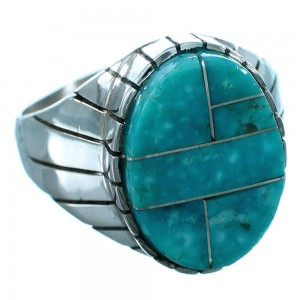 Turquoise Inlay Sterling Silver Navajo Ray Jack Ring Size 12-1/2 RX109566