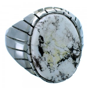 Ray Jack White Buffalo Turquoise Navajo Sterling Silver Ring Size 10-1/2 RX109608