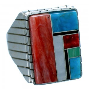 Multicolor Inlay Genuine Sterling Silver American Indian Ray Jack Ring Size 10-1/4 RX109621