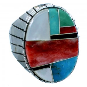 Sterling Silver American Indian Multicolor Inlay Ray Jack Ring Size 10-1/4 RX109623