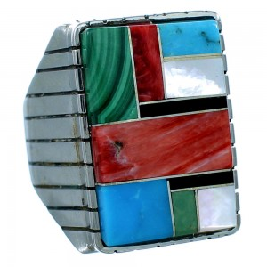 Ray Jack Sterling Silver Multicolor Native American Ring Size 10 RX109641