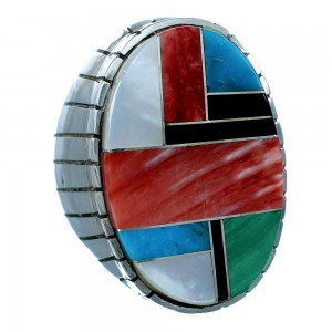 Navajo Autnentic Sterling Silver Multicolor Inlay Ray Jack Ring Size 10 RX109652