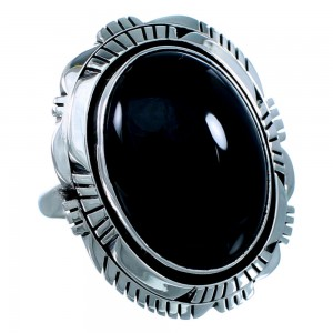 Onyx Navajo Indian Genuine Sterling Silver Ring Size 8-3/4 SX109686