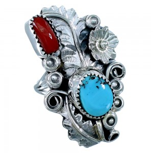 Navajo Sterling Silver Flower And Leaf Turquoise Coral Ring Size 9-3/4 SX109701