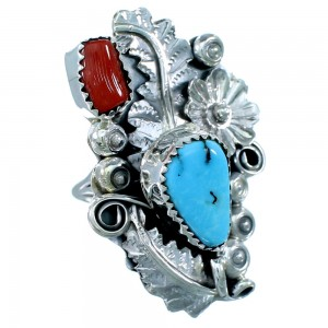 Native American Turquoise And Coral Sterling Silver Floral Ring Size 8-3/4 SX109704