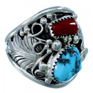 Navajo Indian Turquoise And Coral Sterling Silver Leaf Ring Size 13-1/2 SX109714