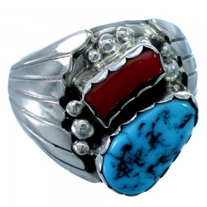 American Indian Turquoise Coral Sterling Silver Jewelry Ring Size 12 RX109820