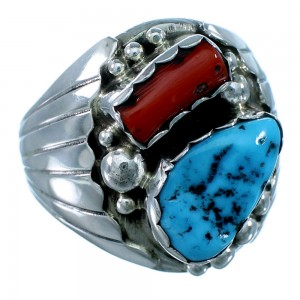 Navajo Indian Genuine Sterling Silver Turquoise Coral Ring Size 10-1/2 RX109822