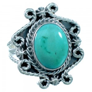 American Indian Sterling Silver And Turquoise Ring Size 6-3/4 RX109839