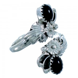 Navajo Sterling Silver Onyx Feather And Flower Adjustable Ring Size 9,10,11 RX109552