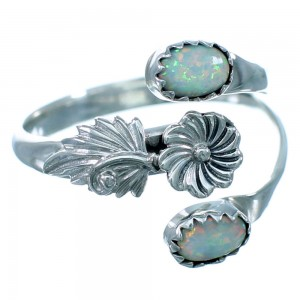 Opal Sterling Silver Feather And Flower American Indian Adjustable Ring Size 8,9,10 RX109554