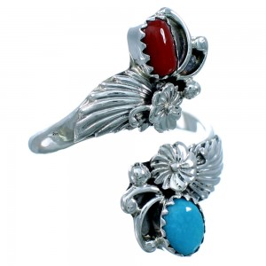 Turquoise Coral Feather And Flower Navajo Sterling Silver Navajo Adjustable Ring Size 6,7,8 RX109553