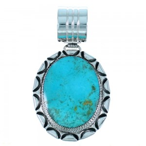 Turquoise And Genuine Sterling Silver Navajo Indian Pendant SX109594