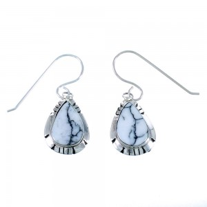 Navajo Sterling Silver Tear Drop Howlite Hook Dangle Earrings SX109873