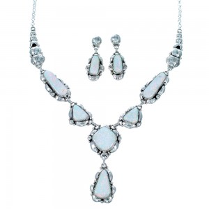 Navajo Genuine Sterling Silver Opal Link Necklace And Earrings Set SX109856