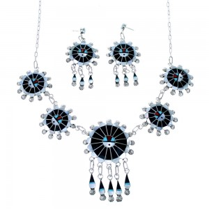 Zuni Multicolor Sun Genuine Sterling Silver Link Necklace And Earrings Set SX109866