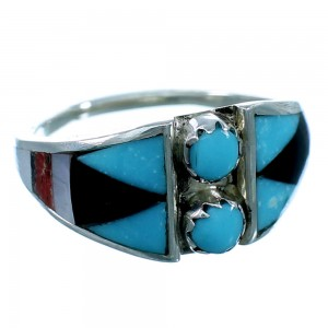 Zuni Authentic Sterling Silver Multicolor Ring Size 5-3/4 RX109965