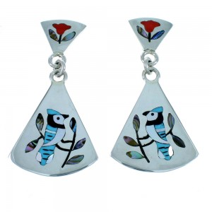 Multicolor Sterling Silver Blue Jay Zuni Post Dangle Earrings SX109985