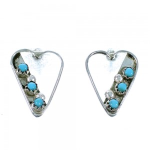Zuni Turquoise Authentic Sterling Silver Heart Post Earrings SX109949