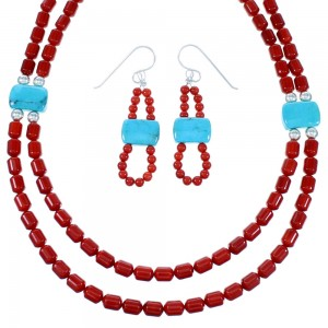 Navajo Turquoise And Coral Sterling Silver 2-Strand Bead Necklace And Earrings Set SX110021