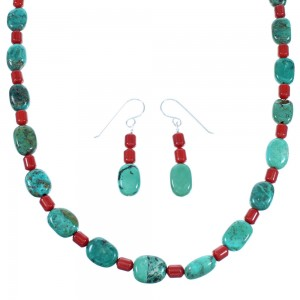 Sterling Silver Turquoise And Coral Navajo Bead Necklace And Earrings Set SX110022