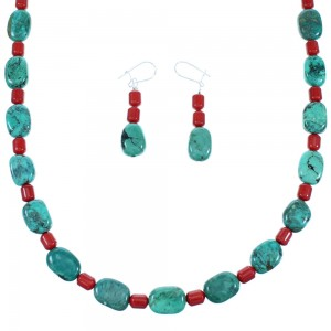 Navajo Sterling Silver Turquoise And Coral Bead Necklace And Earrings Set SX110023
