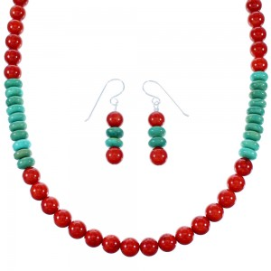 Turquoise And Coral Sterling Silver Navajo Bead Necklace And Earrings Set SX110076
