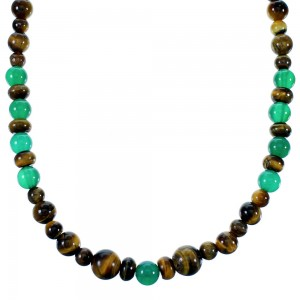 Navajo Tiger Eye And Malaysia Jade Sterling Silver Bead Necklace SX110085