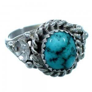 Turquoise Navajo Sterling Silver Flower Ring Size 8-1/4 SX110216