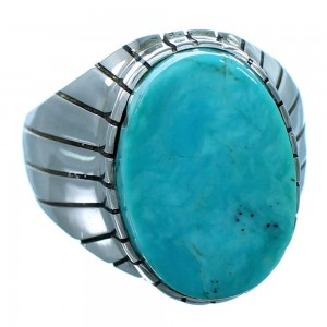 Turquoise Ray Jack Navajo Sterling Silver Ring Size 10-1/2 SX110227