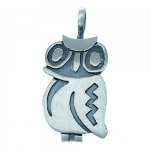 Native American Owl Sterling Silver Pendant RX110313