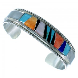 Navajo Indian Sterling Silver Multicolor Inlay Cuff Bracelet SX110338