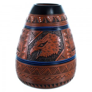 Eagle Hand Crafted Pot By Navajo Artist Ernie Watchman RX110378