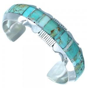 Genuine Sterling Silver Navajo Turquoise And Opal Cuff Bracelet RX110434