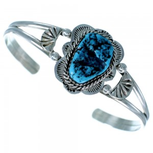 Turquoise Authentic Sterling Silver Navajo Cuff Bracelet RX110437