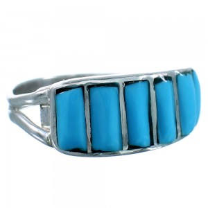 Zuni Turquoise Sterling Silver Ring Size 5-3/4 SX110561