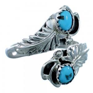 Sterling Silver Feather Turquoise Native American Adjustable Ring Size 6,7,8 RX110751