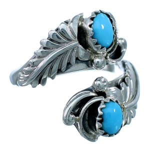 Native American Sterling Silver Feather Turquoise Adjustable Ring Size 7,8,9 RX110754