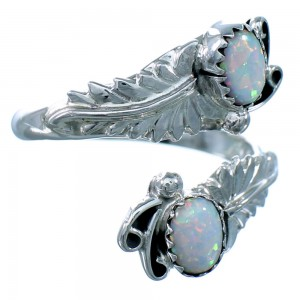 Opal And Sterling Silver Feather Navajo Adjustable Ring Size 9,10,11 SX111061