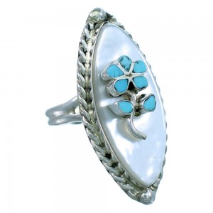 Zuni Turquoise Mother of Pearl Sterling Silver Flower Ring Size 6-1/4 SX110980